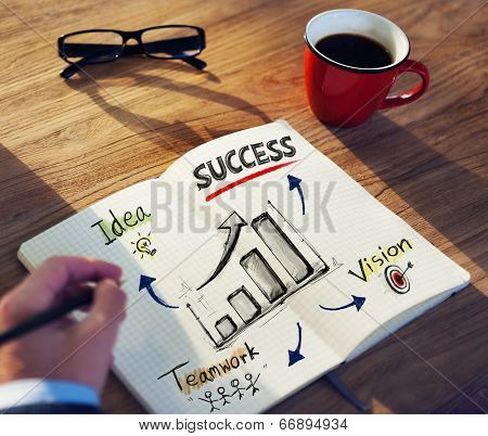 Man with a Note and Success Concept