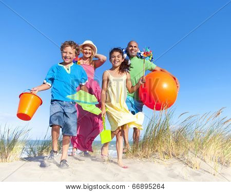 Cheerful Family Bonding by the Beach