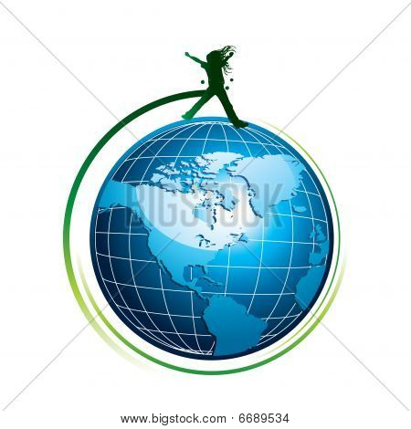 Silhouette on globe icon