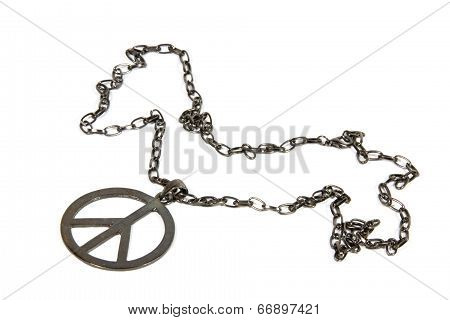 Silver Peace Pendant On Chain From 1960's