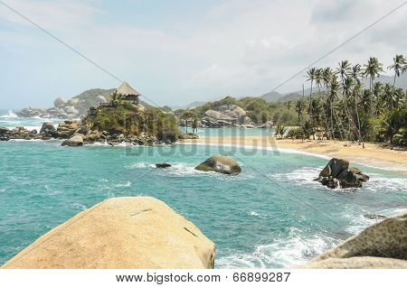 Tropical Paradise Beach  At Tayrona National Park. Colombia.