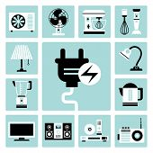 pic of food processor  - Set of vector electric household appliances icons - JPG