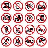 picture of ice fishing  - Set of forbidden signs with different designations - JPG