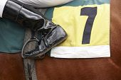 image of horse-riders  - Jockey boot detail and race horse - JPG