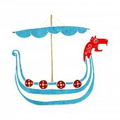 stock photo of viking ship  - cartoon viking ship - JPG