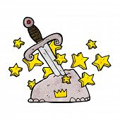 image of arthurian  - cartoon magical sword in stone - JPG