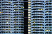 stock photo of asymmetrical  - Asymmetrical Resident building tight room at night