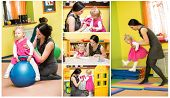 image of montessori school  - Mother and child girl playing in kindergarten in Montessori preschool Class - JPG