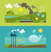 stock photo of windmills  - Ecology Concept Vector Illustration for Environment - JPG