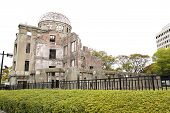 stock photo of nuclear bomb  - The Atomic Bomb (A-Bomb) Dome Hiroshima Japan ** Note: Soft Focus at 100%, best at smaller sizes - JPG