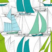 stock photo of galleon  - Boats seamless pattern vector - JPG