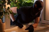 pic of peek  - Burglar peeks into the house through an open window - JPG