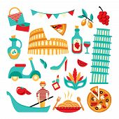 picture of gondolier  - Italy decorative elements set of pizza spaghetti pisa tower isolated vector illustration - JPG