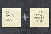 pic of proverb  - cut your losses and let your profits run proverb interpretation handwritten on sticker notes - JPG