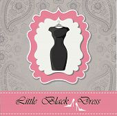 image of little black dress  - Label with classic little black dress with hanger  - JPG
