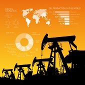 foto of derrick  - Oil derrick infographic with stages of process oil production - JPG