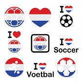 image of holland flag  - Soccer ball with flag of Holland vector icons set isolated on white - JPG