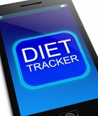 foto of fat cell  - Illustration depicting a phone with a diet tracker concept - JPG