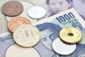 stock photo of japanese coin  - close  - JPG