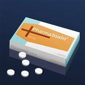 stock photo of coffin  - Pills named Pharmatoxin with a coffin and a cross on the cardboard packet - JPG