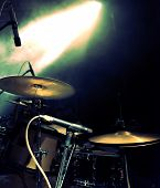 picture of drums  - Drum on stage and spotlight. Live music background
