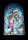 stock photo of the lost sheep  - Stained glass window in the monastery of benedictines 19th century of baby Jesus - JPG