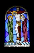 stock photo of the lost sheep  - Stained glass window in the monastery of benedictines 19th century - JPG