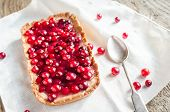 image of tarts  - Tart With Jellied Fresh Cranberries On The Wooden Table - JPG