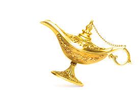 stock photo of aladdin  - Ornate Magic lamp of Aladdin isolated on white background - JPG