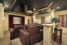pic of movie theater  - Home theater in luxury home with columns - JPG