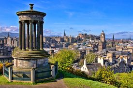 pic of british culture  - Aerial view over the historic center of Edinburgh Scotland from Calton Hill - JPG