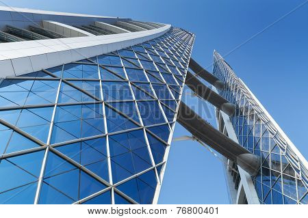 Bahrain World Trade Center Facade With Wind Turbines On It