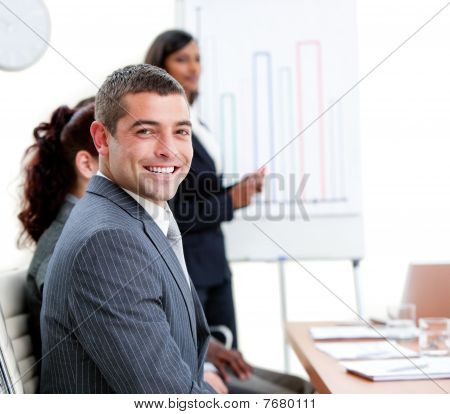 Self-assured Young Businessman At A Presentation