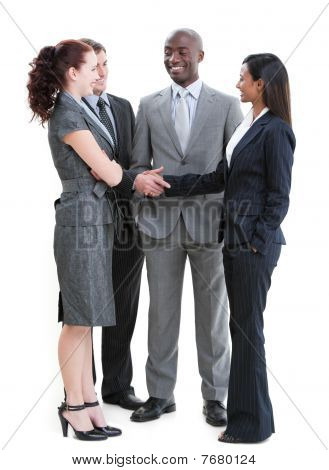 Cheerful Business Partners Shaking Hands