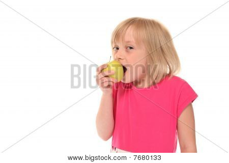 Young Little Girl Eating Apple