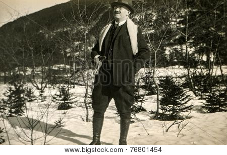 GERMANY, CIRCA 1930: Vintage photo of man in winter