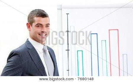 Charismatic Young Businessman Doing A Presentation