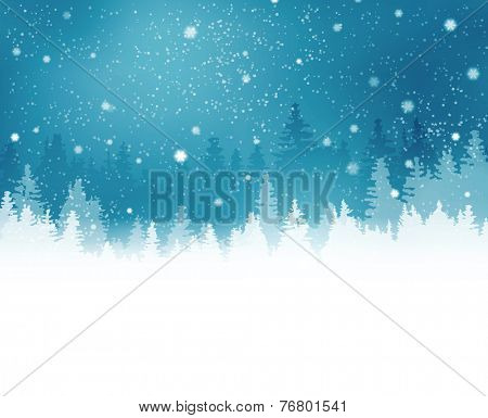 Abstract winter background with rows of fir tree silhouette and snowfall. Peaceful winter landscape in shades of blue. Copy space.