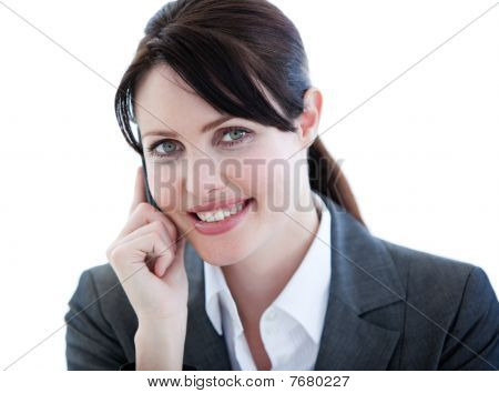 Portrait Of A Positive Businesswoman Talking On Phone