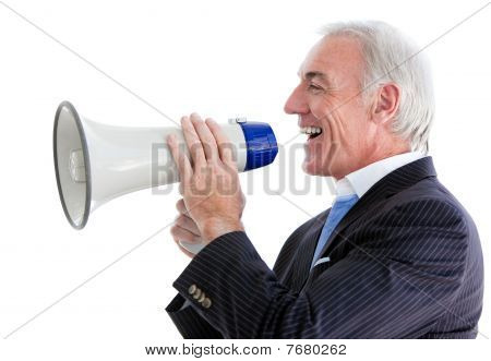 Senior Smiling Businessman Using A Megaphone