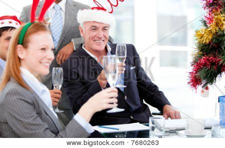 Businessman Team Celebrating Christmas