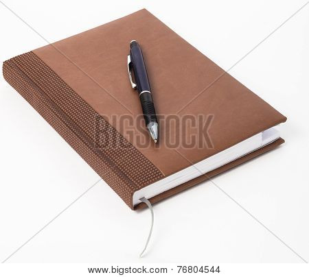 Personal Organizer, With Pen, On White Background.