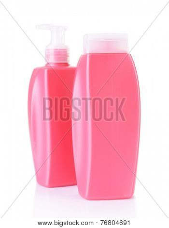 Shampoo and hair conditioner isolated on white