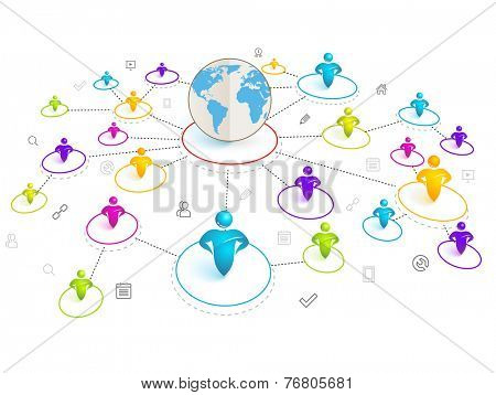 Isometric 3d Social Media Network. Vector Illustration with world map