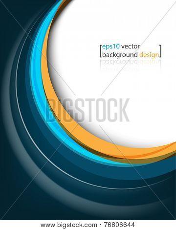 eps10 vector elegant blue bent lines frame corporate business background