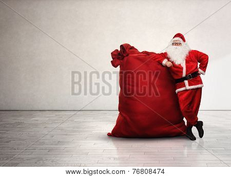 Portrait Of Santa Claus With Red Sack