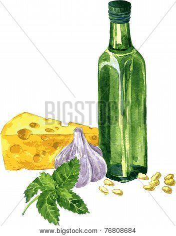 ingredients for cooking pesto