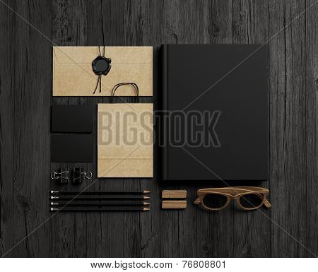 Set Of  Branding Elements On Wood