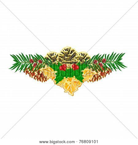 Christmas Decoration  With Pinecones  Holly And Yew Vector