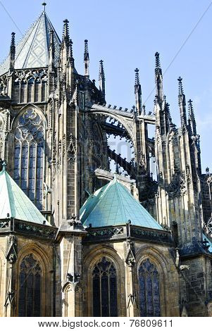 Flying buttresses at St Vitus Cathedral in Prague